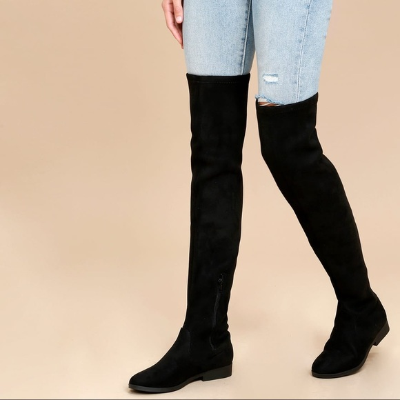 c3a3e899645 Lulu s Racy Black Suede Over the Knee Boots